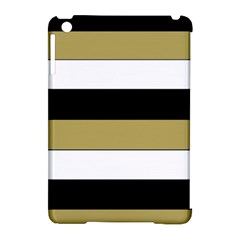 Black Brown Gold White Horizontal Stripes Elegant 8000 Sv Festive Stripe Apple Ipad Mini Hardshell Case (compatible With Smart Cover) by yoursparklingshop