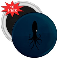 Black Octopus 3  Magnets (10 Pack)