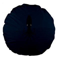 Black Octopus Large 18  Premium Flano Round Cushions