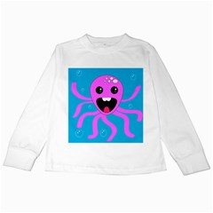 Bubble Octopus Kids Long Sleeve T Shirts by AnjaniArt
