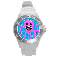 Bubble Octopus Round Plastic Sport Watch (l) by AnjaniArt