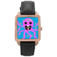 Bubble Octopus Rose Gold Leather Watch