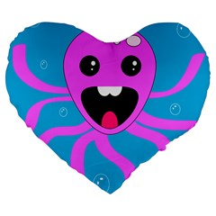 Bubble Octopus Large 19  Premium Flano Heart Shape Cushions by AnjaniArt