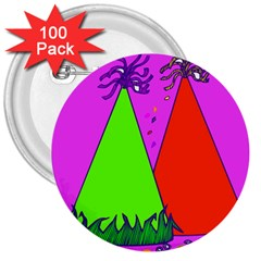 Birthday Hat Party 3  Buttons (100 Pack)
