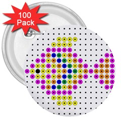 Colored Fish 3  Buttons (100 Pack)