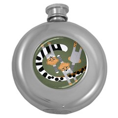 Chetah Animals Round Hip Flask (5 Oz)