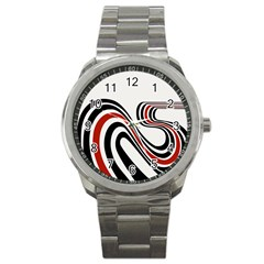 Curving, White Background Sport Metal Watch by AnjaniArt