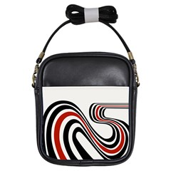 Curving, White Background Girls Sling Bags by AnjaniArt