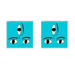 Eyes Three Blue Cufflinks (square)