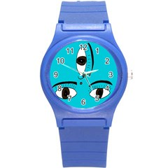 Eyes Three Blue Round Plastic Sport Watch (s) by AnjaniArt