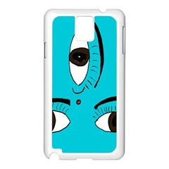 Eyes Three Blue Samsung Galaxy Note 3 N9005 Case (white) by AnjaniArt