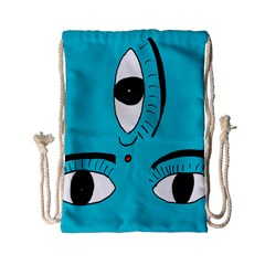 Eyes Three Blue Drawstring Bag (small) by AnjaniArt