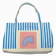 Girls Pink Striped Blue Tote Bag by AnjaniArt
