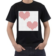 Heart Love Valentine Day Pink Men s T Shirt (black) (two Sided) by AnjaniArt