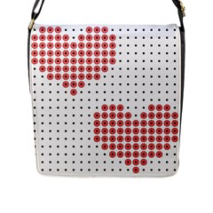 Heart Love Valentine Day Pink Flap Messenger Bag (l)  by AnjaniArt
