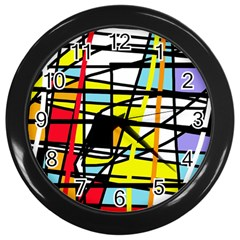 Casual Abstraction Wall Clocks (black) by Valentinaart