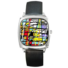Casual Abstraction Square Metal Watch by Valentinaart