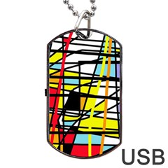 Casual Abstraction Dog Tag Usb Flash (one Side) by Valentinaart