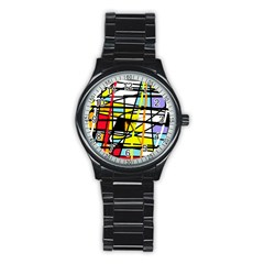 Casual Abstraction Stainless Steel Round Watch by Valentinaart
