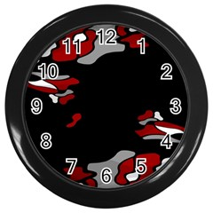 Red Creativity Wall Clocks (black) by Valentinaart