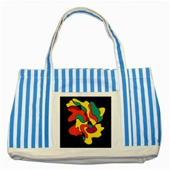 Colorful Spot Striped Blue Tote Bag by Valentinaart