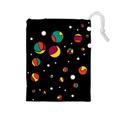 Colorful Dots Drawstring Pouches (large)  by Valentinaart