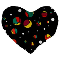 Colorful Dots Large 19  Premium Flano Heart Shape Cushions by Valentinaart