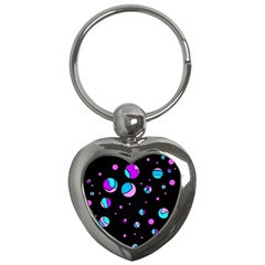 Blue And Purple Dots Key Chains (heart)  by Valentinaart
