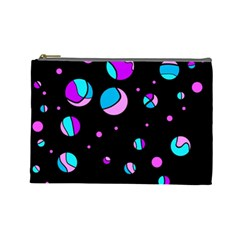 Blue And Purple Dots Cosmetic Bag (large)  by Valentinaart