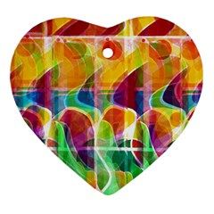 Abstract Sunrise Heart Ornament (2 Sides) by Valentinaart