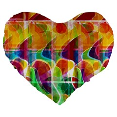 Abstract Sunrise Large 19  Premium Heart Shape Cushions by Valentinaart