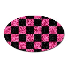 Square1 Black Marble & Pink Marble Magnet (oval) by trendistuff