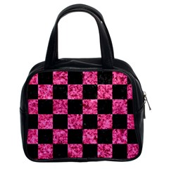 Square1 Black Marble & Pink Marble Classic Handbag (two Sides) by trendistuff