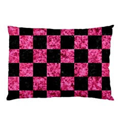 Square1 Black Marble & Pink Marble Pillow Case (two Sides) by trendistuff