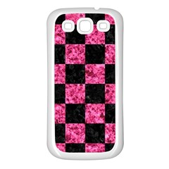 Square1 Black Marble & Pink Marble Samsung Galaxy S3 Back Case (white) by trendistuff