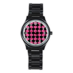 Square2 Black Marble & Pink Marble Stainless Steel Round Watch by trendistuff