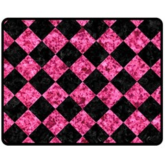 Square2 Black Marble & Pink Marble Double Sided Fleece Blanket (medium) by trendistuff