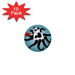 Panda Octopus Fish Blue 1  Mini Buttons (10 Pack)