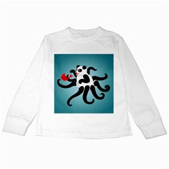 Panda Octopus Fish Blue Kids Long Sleeve T Shirts by AnjaniArt