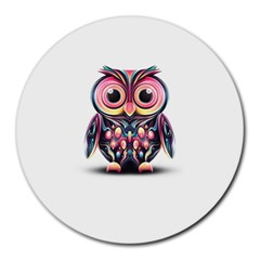 Owl Colorful Round Mousepads by AnjaniArt