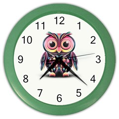 Owl Colorful Color Wall Clocks by AnjaniArt