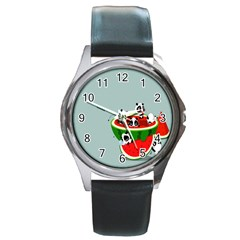 Panda Watermelon Round Metal Watch