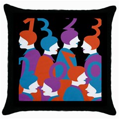 People Throw Pillow Case (black) by AnjaniArt
