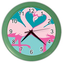 Pink Flamengo Color Wall Clocks by AnjaniArt