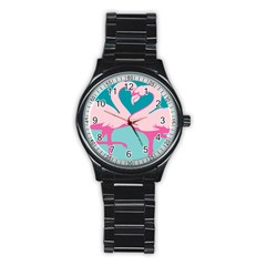 Pink Flamengo Stainless Steel Round Watch
