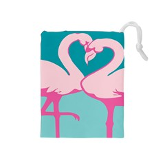 Pink Flamengo Drawstring Pouches (medium)  by AnjaniArt