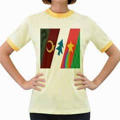 Star Color Women s Fitted Ringer T Shirts