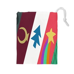 Star Color Drawstring Pouches (large)  by AnjaniArt