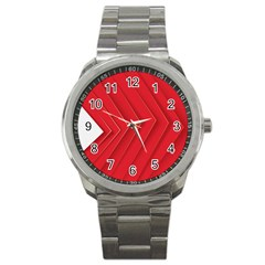 Rank Red White Sport Metal Watch