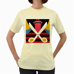 Scissors Tongue Women s Yellow T Shirt